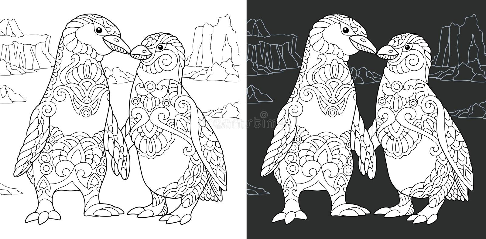 Coloring book page with penguin couple stock illustration