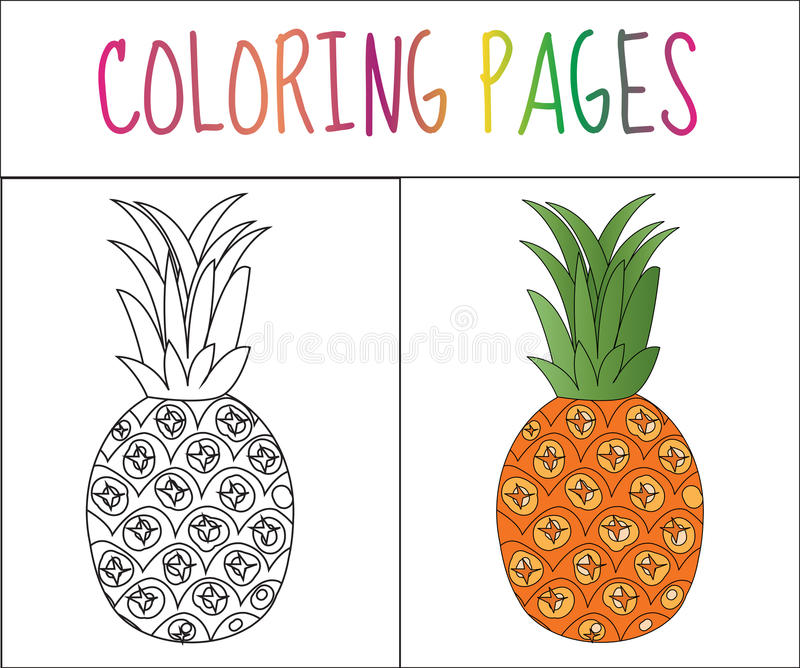 Coloring book page. Pineapple. Sketch and color version. Coloring for kids. Vector illustration royalty free illustration
