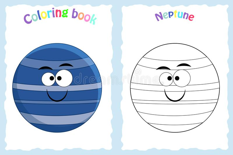Coloring book page for preschool children with colorful Neptune royalty free illustration