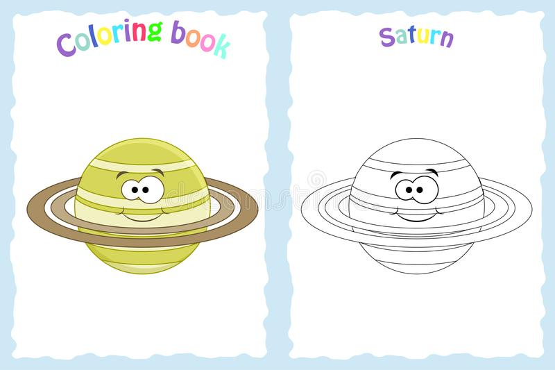 Coloring book page for preschool children with colorful saturn. Planet and sketch to color vector illustration