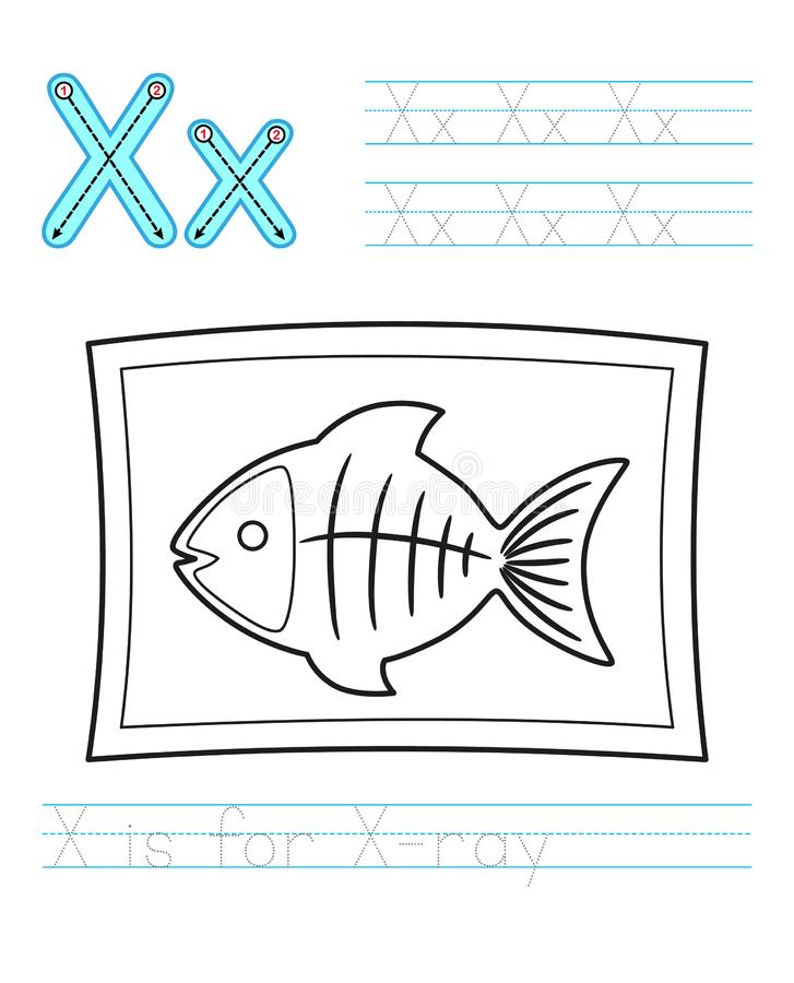 Coloring book page. Printable worksheet for kindergarten and preschool. Exercises for study English. Vector coloring book alphabet. Simple level of difficulty royalty free illustration