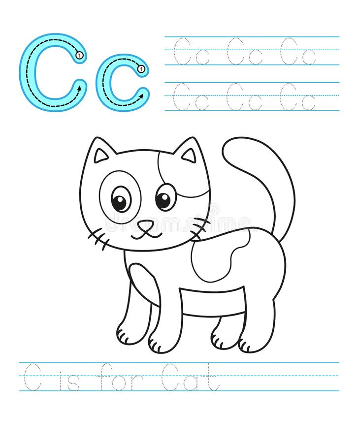 Coloring book page. Printable worksheet for kindergarten and preschool. Exercises for study English. Vector coloring book alphabet. Simple level of difficulty stock illustration