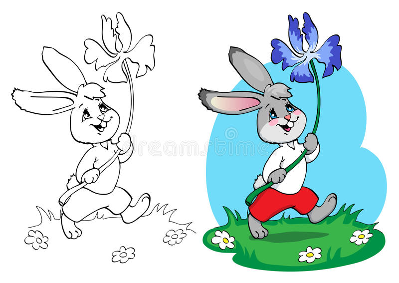 Coloring book or page. Rabbit in red shorts and white shirt with a blue flower. royalty free illustration