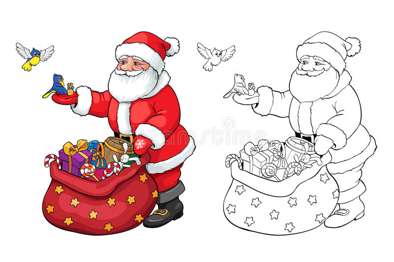 Coloring book or page. Santa Claus with Christmas gifts. stock illustration