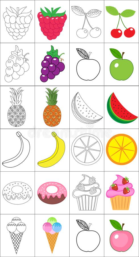 Coloring book, page set. Fruits collection. Sketch and color version. Coloring for kids. Childrens education. Vector stock illustration