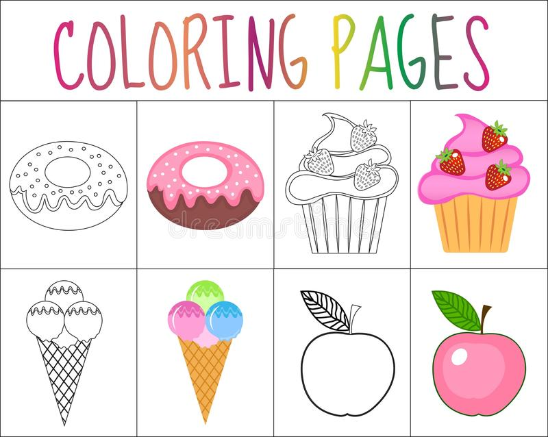 Coloring book page set. Sweets collection. Sketch and color version. for kids. vector illustration