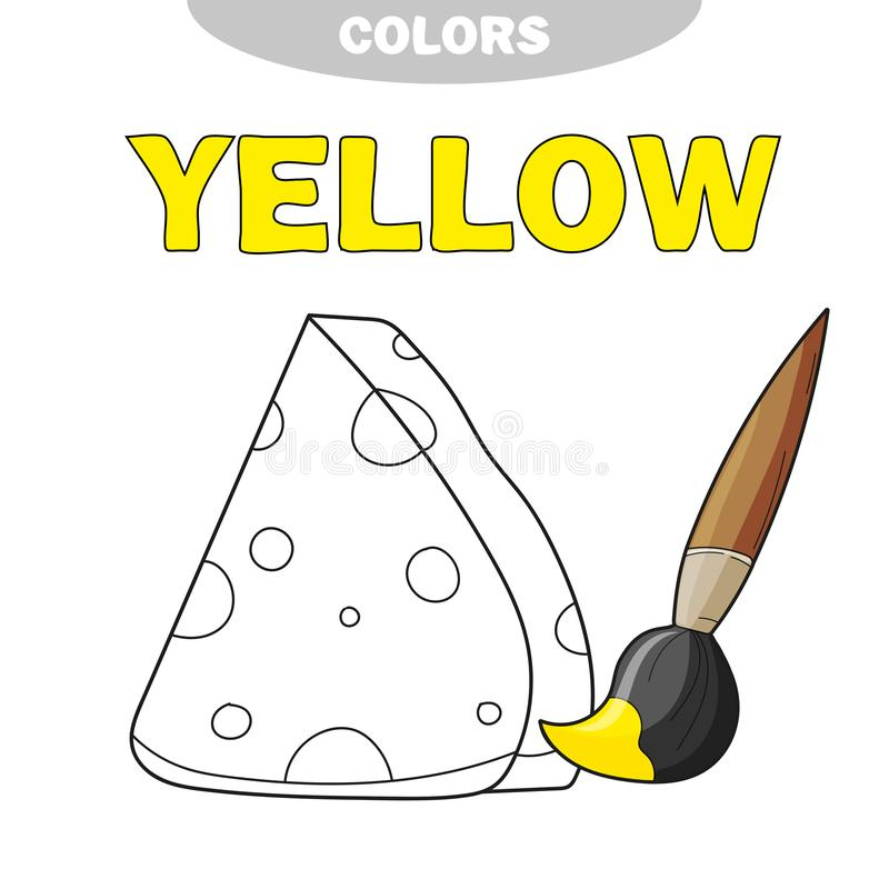 Coloring book page template with cheese, color samples. vector illustration vector illustration