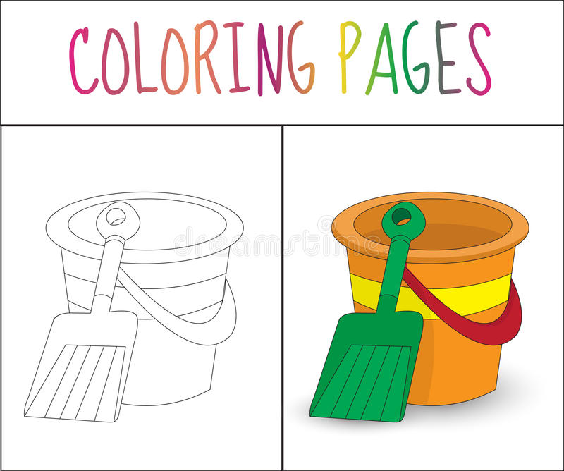 Coloring book page. Toy bucket and shovel. Sketch and color version. Coloring for kids. Vector illyustration stock illustration