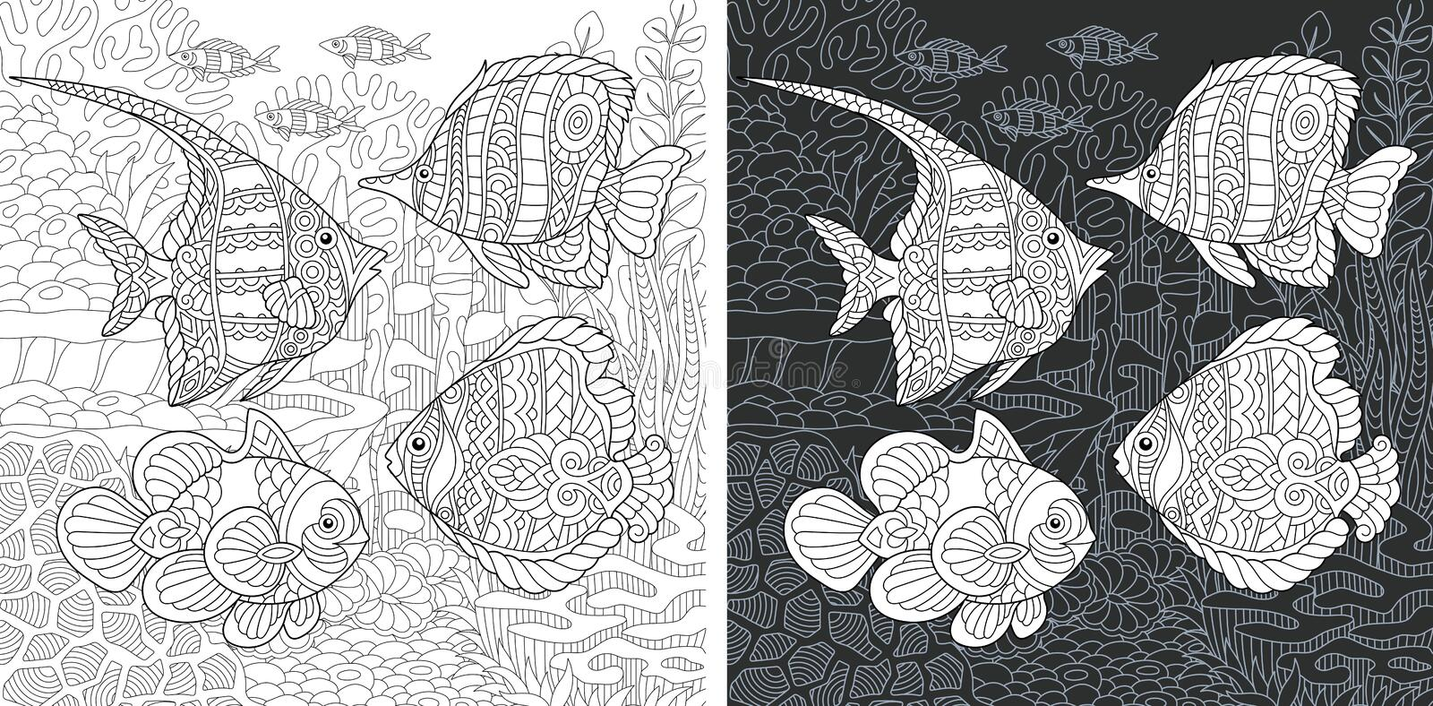 Coloring book page with tropical fishes stock photography