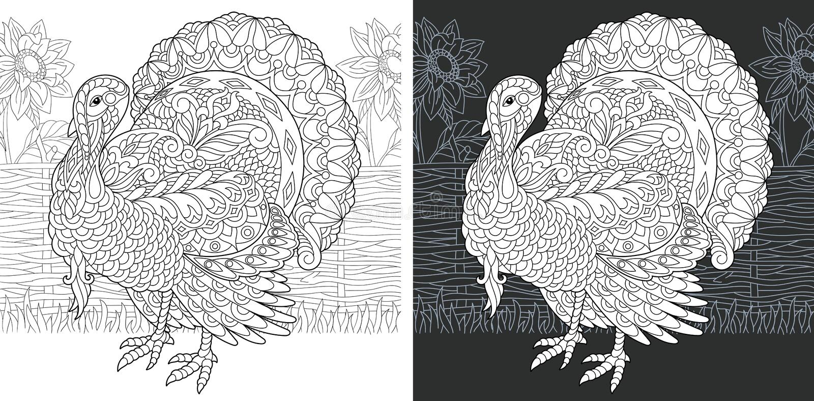 Coloring book page with turkey. Coloring Page. Coloring Book. Colouring picture with Turkey drawn in zentangle style. Thanksgiving day holiday bird symbol royalty free illustration
