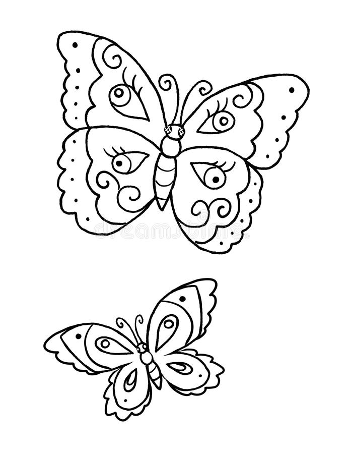 Download Coloring Book Page With Two Butterflies Stock Illustration