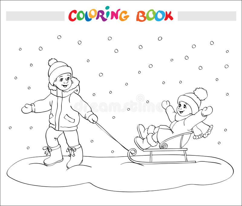 Coloring book or page. Two kids - boy and girl on sled. stock illustration