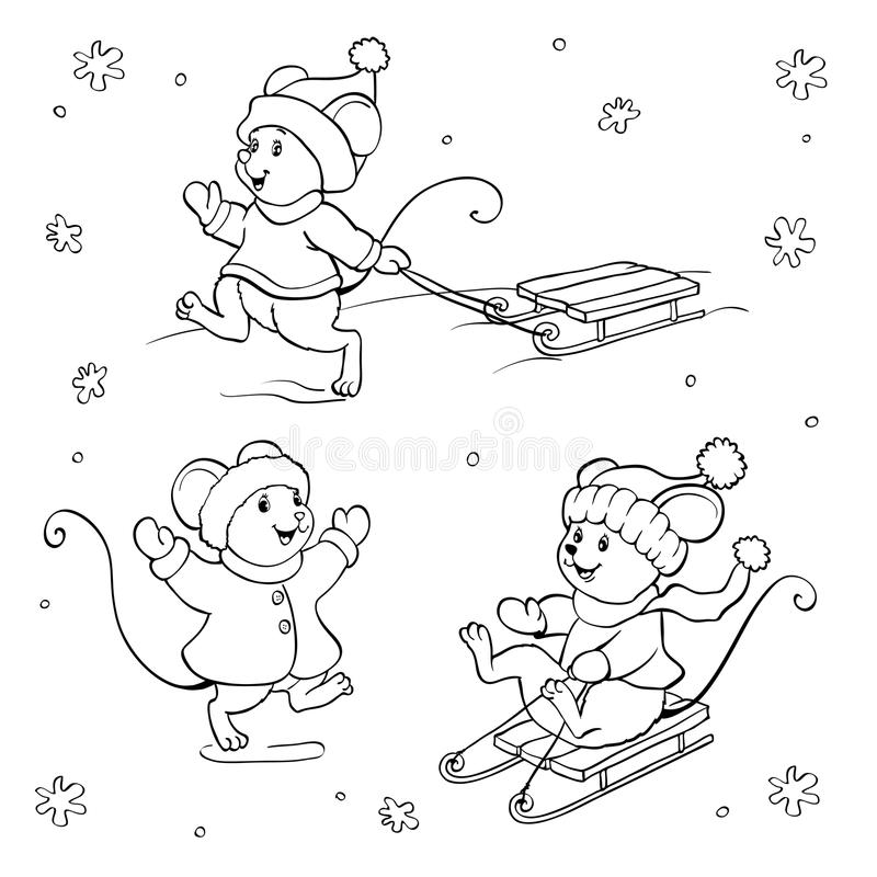 Coloring book or page. Vector mouse set. stock illustration