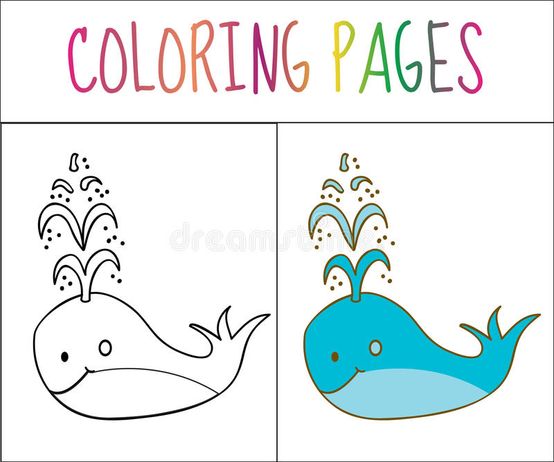 Download Coloring Book Page Whale Sketch And Color Version For Kids