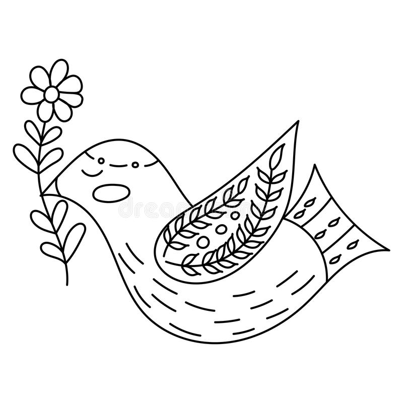 Download Coloring Book Or Pages For Adults Illustration Birds With Flowers In A Scandinavian Style