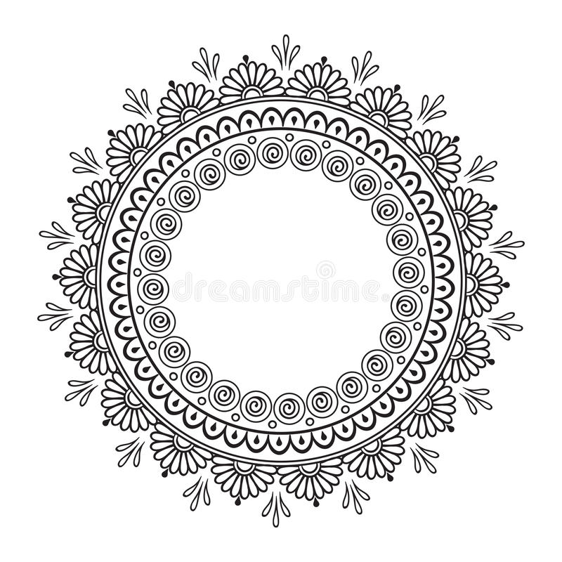 Free Coloring Book Pages For Kids And Adults. Hand Drawn Abstract Design. Decorative Indian Mandala Royalty Free Stock Photo - 65177345