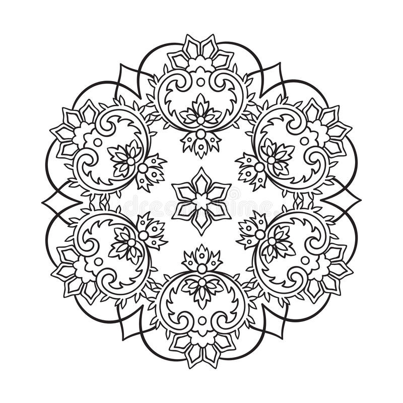Coloring book pages for kids and adults. Hand drawn abstract snowflake. Coloring book pages for kids and adults. Hand drawn abstract design. Decorative Indian stock illustration