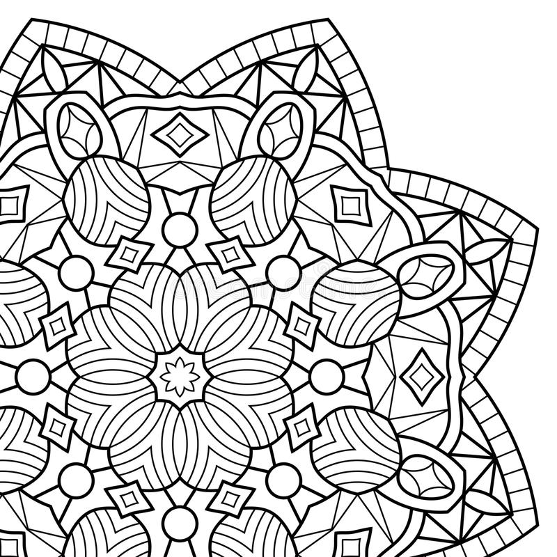 Coloring book pages. Mandala stock illustration
