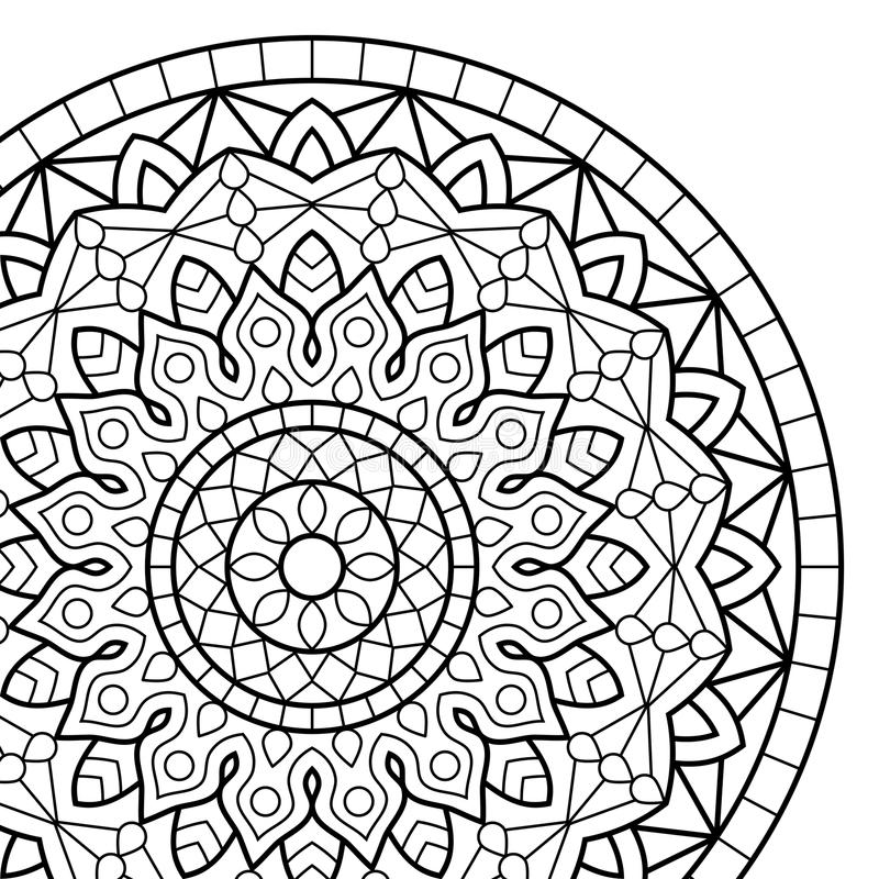 Coloring book pages. Mandala. Indian antistress medallion. Abstract islamic flower, arabic henna design, yoga symbol. White background, black outline. Vector stock illustration