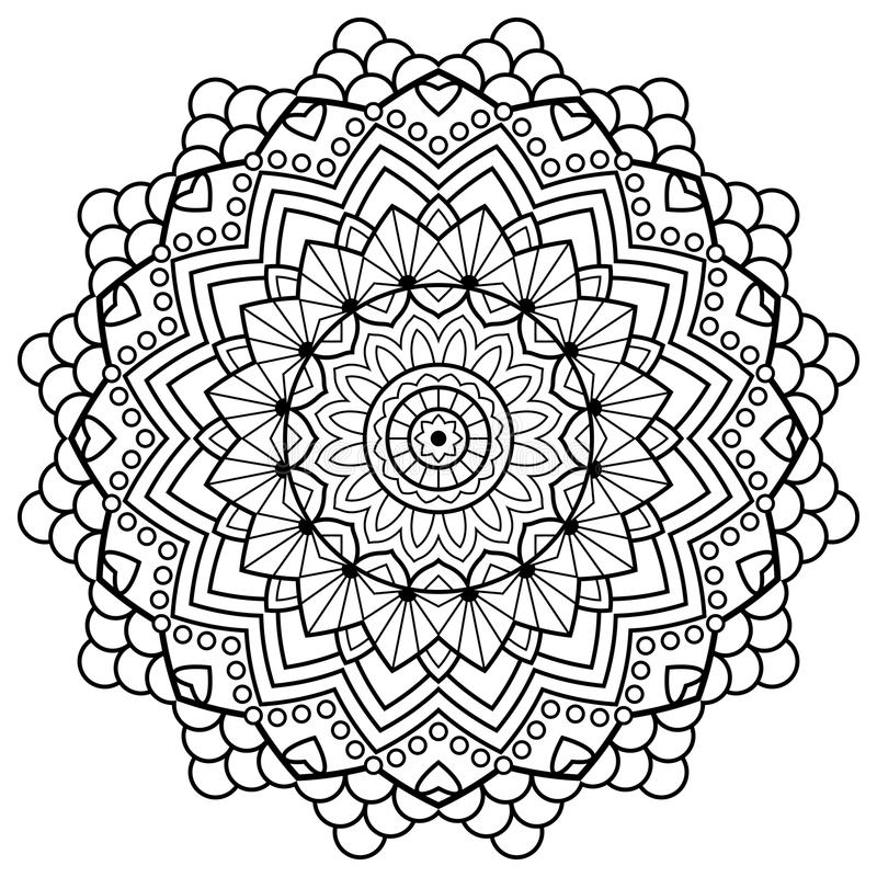 Coloring Book Pages. Mandala. Indian Antistress Medallion Stock ...
