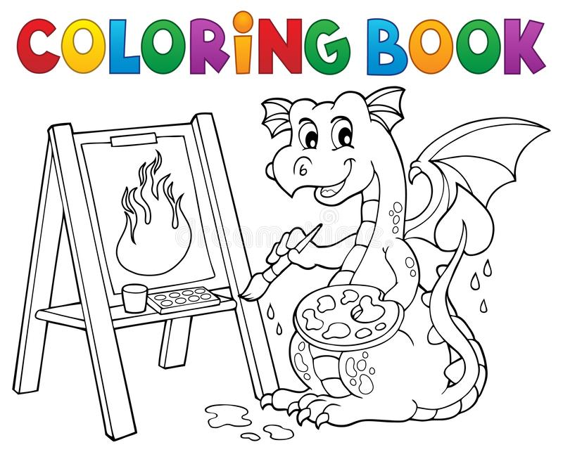 Coloring book painting dragon theme 2 vector illustration