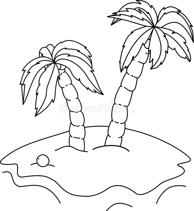 Coloring book palm trees stock vector. Illustration of draw - 67788980