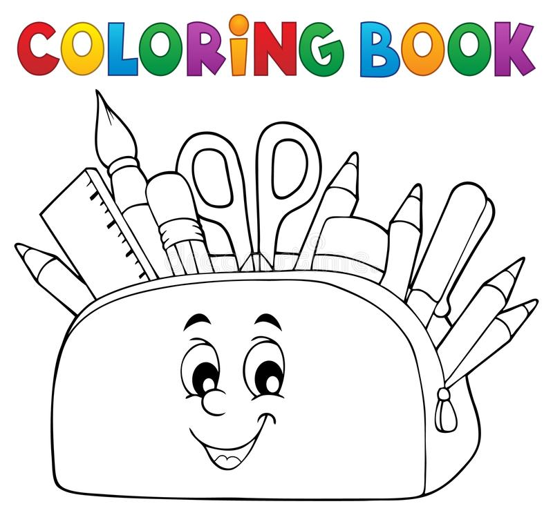 Coloring book pencil case theme 2 stock illustration