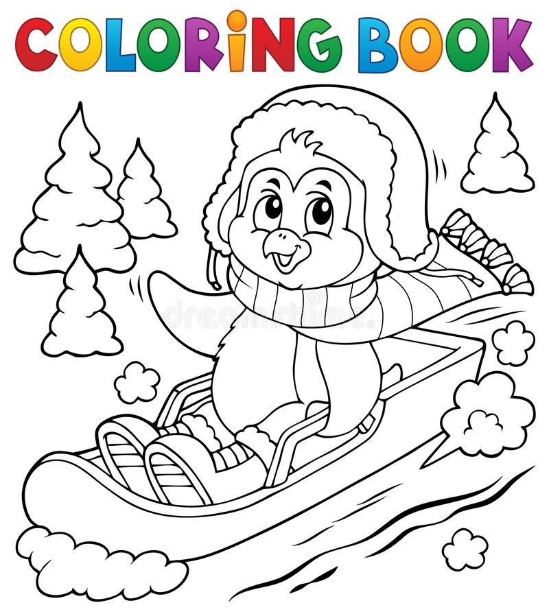 Free Coloring Book Penguin On Bobsleigh 1 Royalty Free Stock Photos - 164130978