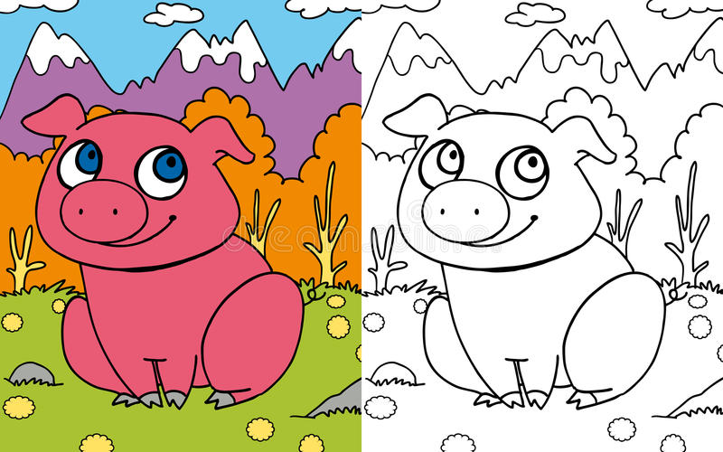 Coloring book pig royalty free illustration