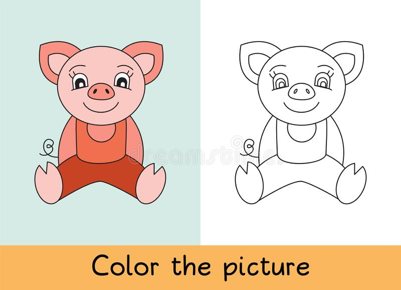 Coloring book. Pig. Cartoon animall. Kids game. Color picture. Learning by playing. Task for children.  stock illustration