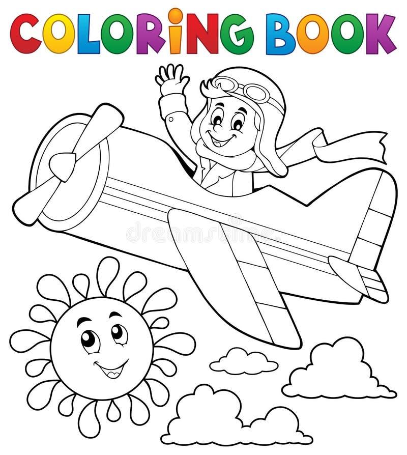Coloring book pilot in retro airplane vector illustration
