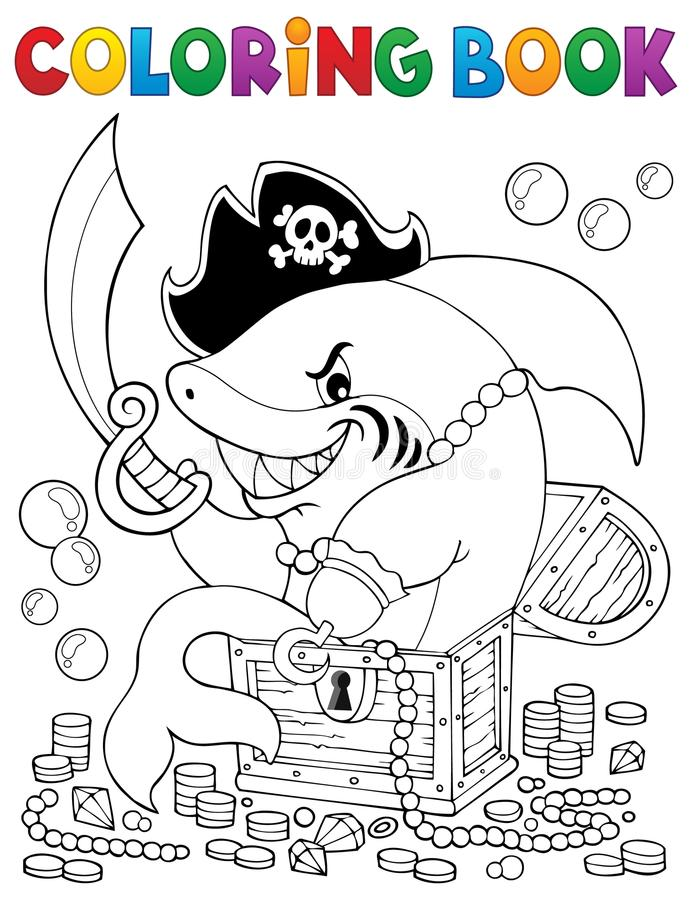 Coloring book pirate shark with treasure royalty free illustration