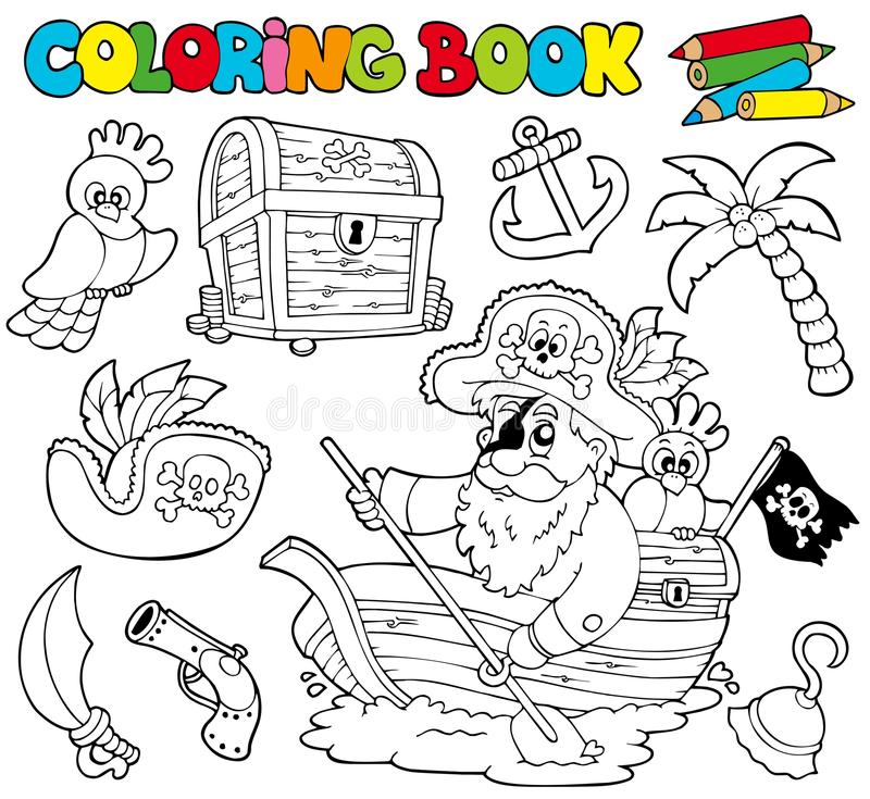 Coloring book with pirates 1 royalty free illustration