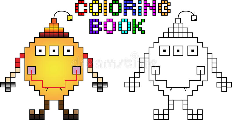 Coloring book pixel monster first stock illustration