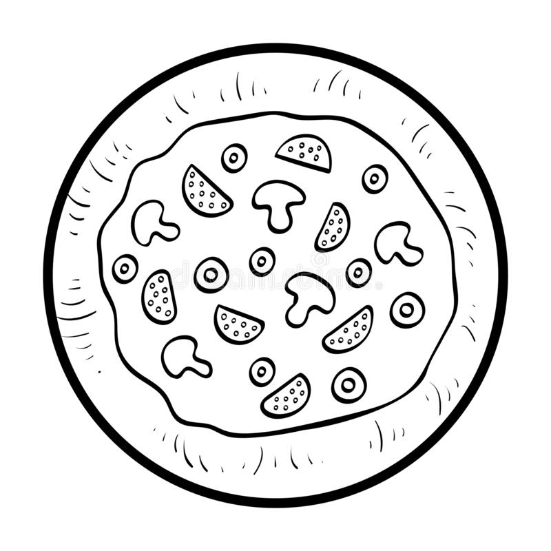 Coloring book, Pizza stock illustration