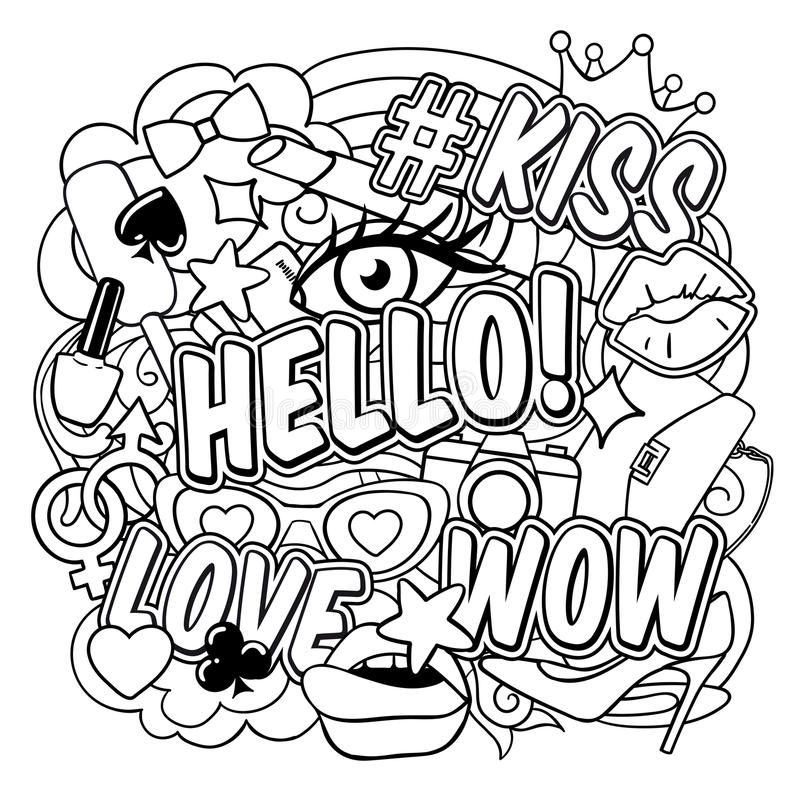 Coloring Book Pop Art Page royalty free illustration