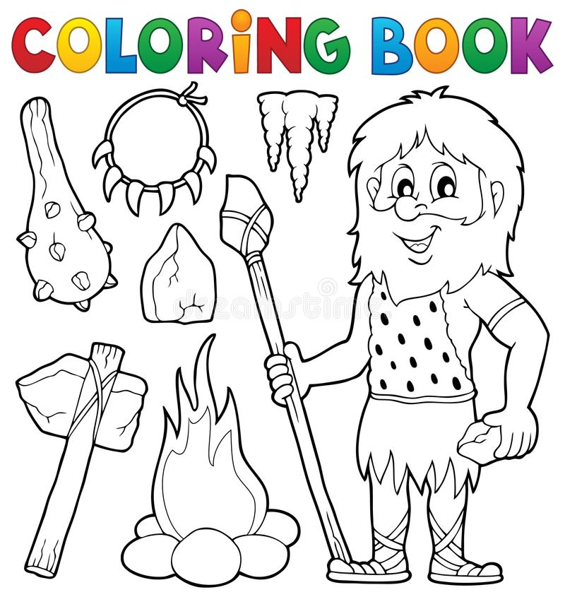 Coloring book prehistoric thematics 1 vector illustration
