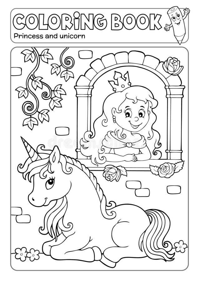 Free Coloring Book Princess And Unicorn 1 Royalty Free Stock Photography - 179375777