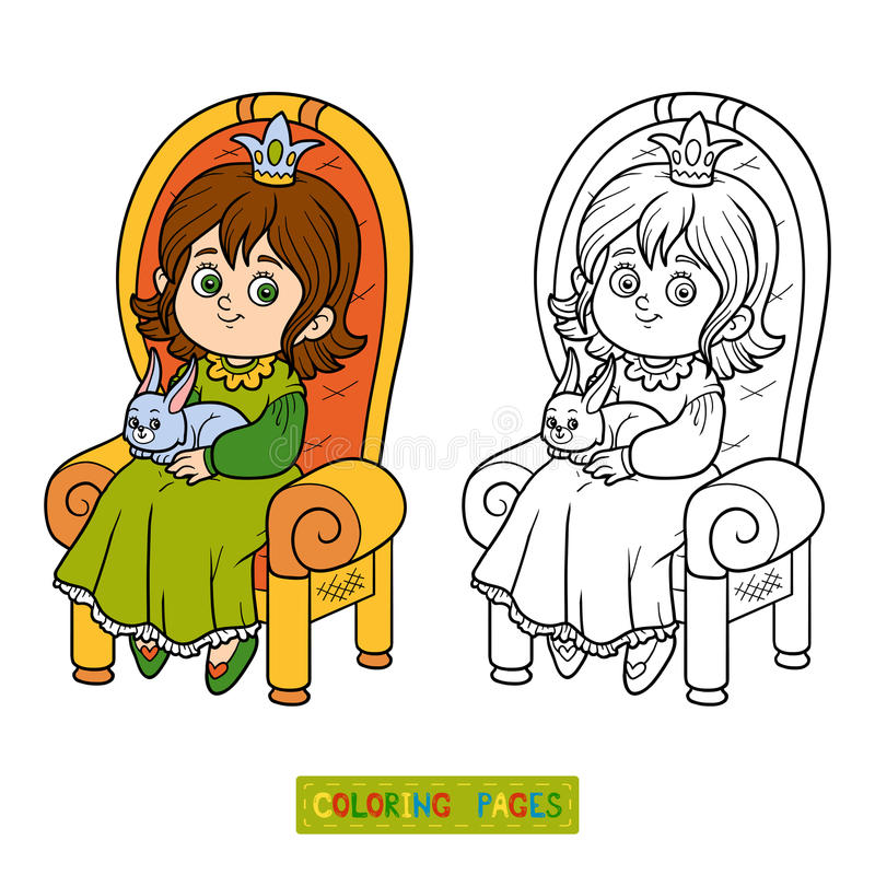 Coloring book, princess seated on a throne. Coloring book for children, young princess seated on a throne with the bunny in hands royalty free illustration