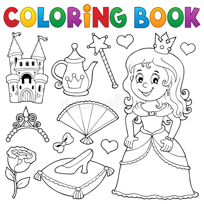Free Coloring Book Princess Topic Set 1 Stock Images - 138817824