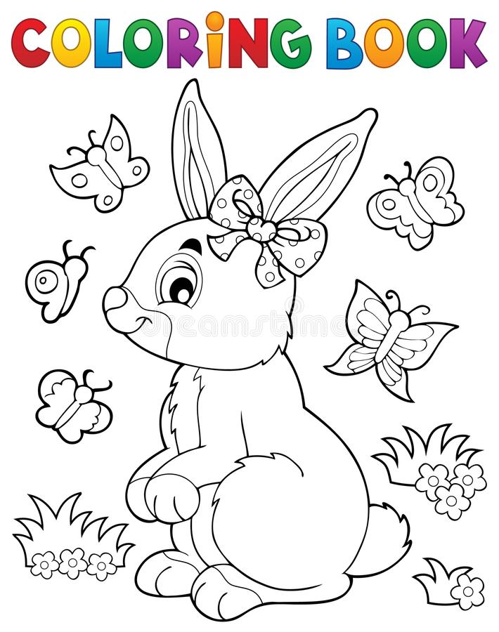 download coloring book rabbit topic 2 stock vector image 66824108