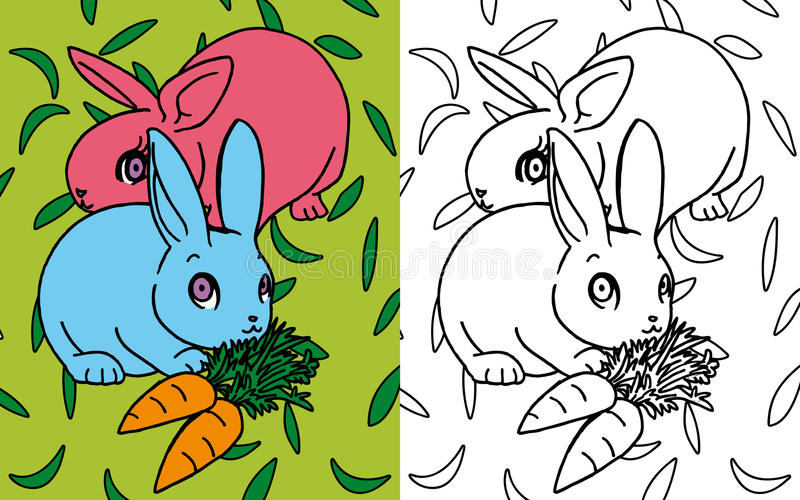 Download Coloring book rabbits stock illustration. Image of kids - 27135876