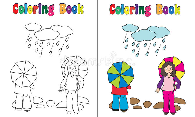 Download Coloring Book Rain Children Stock Vector