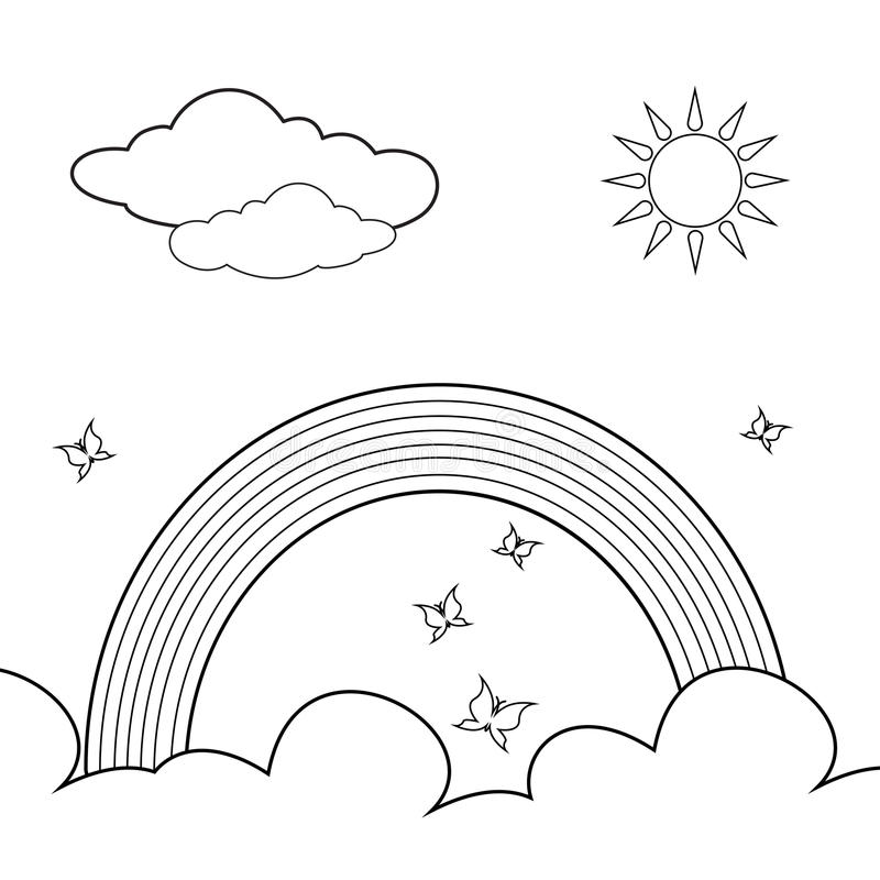 rainbow with clouds coloring page - coloring book rainbow stock vector illustration of