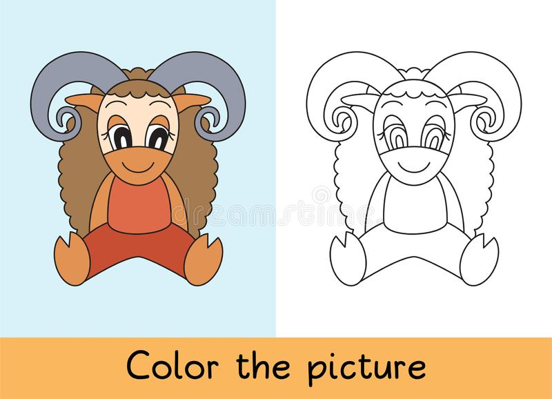 Coloring book. Ram, sheep. Cartoon animall. Kids game. Color picture. Learning by playing. Task for children.  royalty free illustration