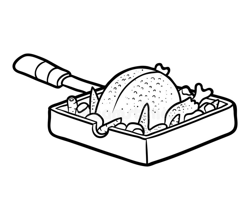 Coloring book, Roasted Chicken in a frying pan. Coloring book for children, Roasted Chicken in a frying pan stock illustration