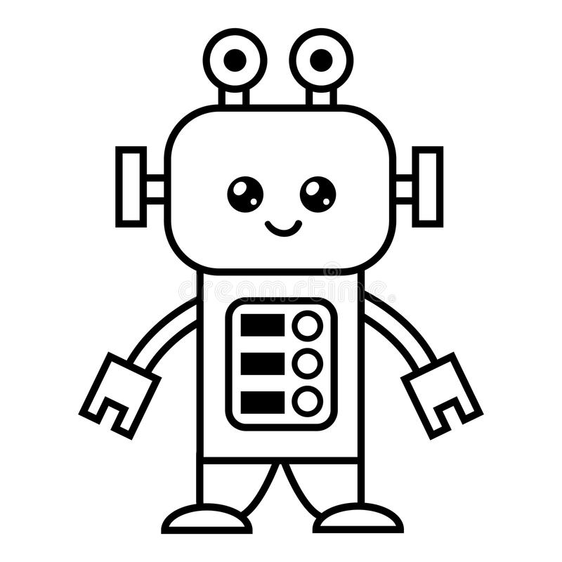 Coloring book, Robot royalty free illustration