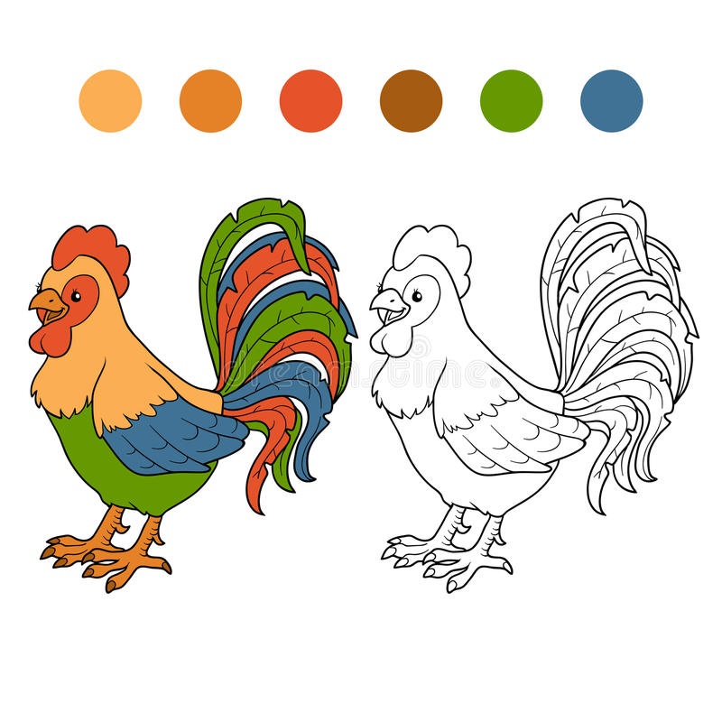 Coloring book (rooster) royalty free illustration