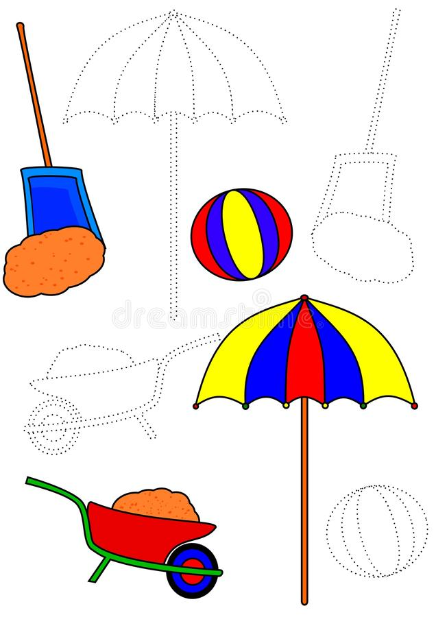 Coloring book - sand toys stock illustration
