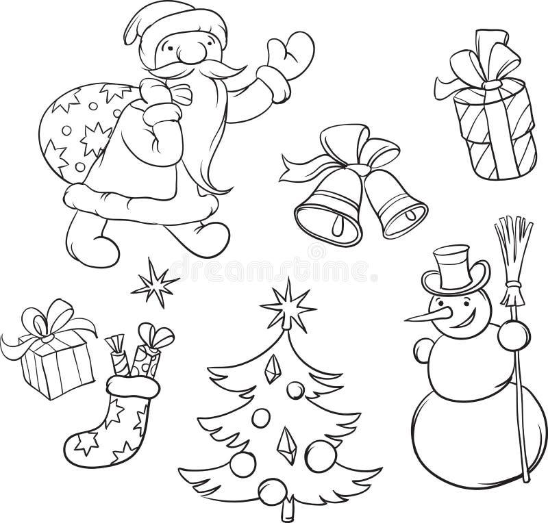 coloring book santa claus and christmas symbols stock vector
